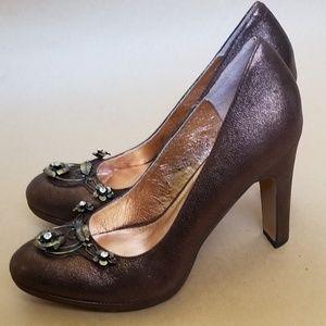 Anthropologie miss albright metallic heels